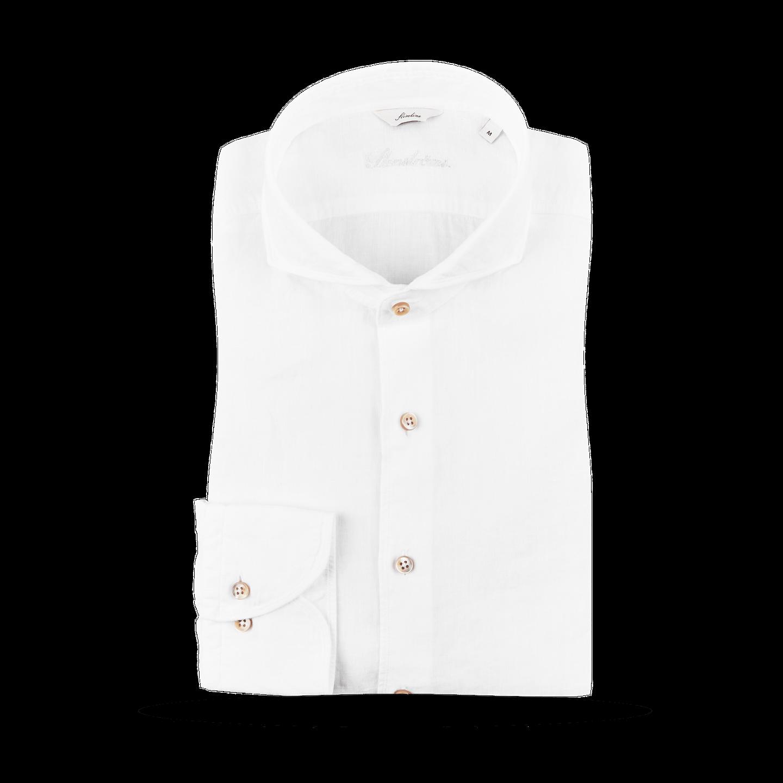 Stenströms White Slimline Linen Cut-Away Collar Shirt Feature