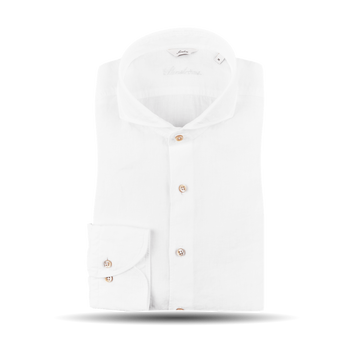 Stenströms White Slimline Linen Cut-Away Collar Shirt Feature
