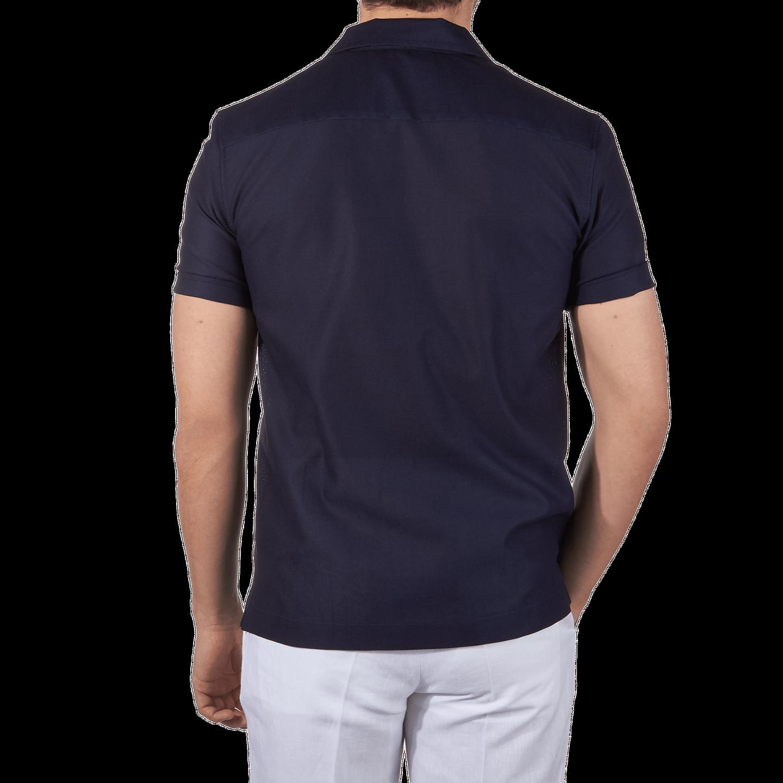 Sunspel Navy Short Sleeve Jersey Polo Shirt Back