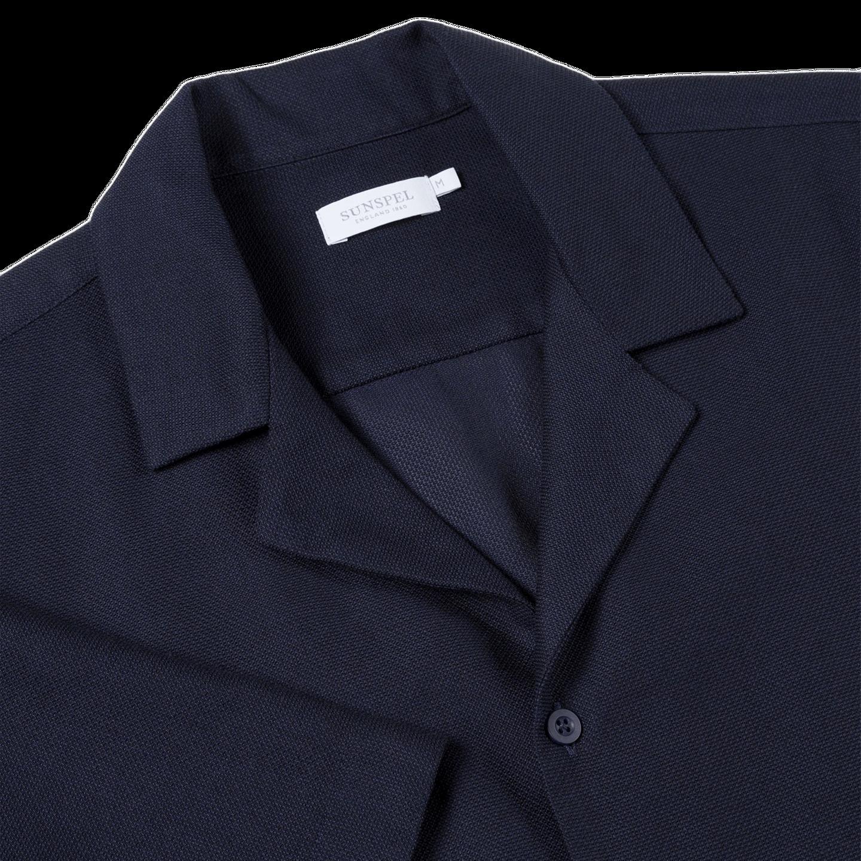 Sunspel Navy Short Sleeve Jersey Polo Shirt Collar