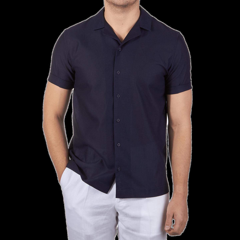Sunspel Navy Short Sleeve Jersey Polo Shirt Front