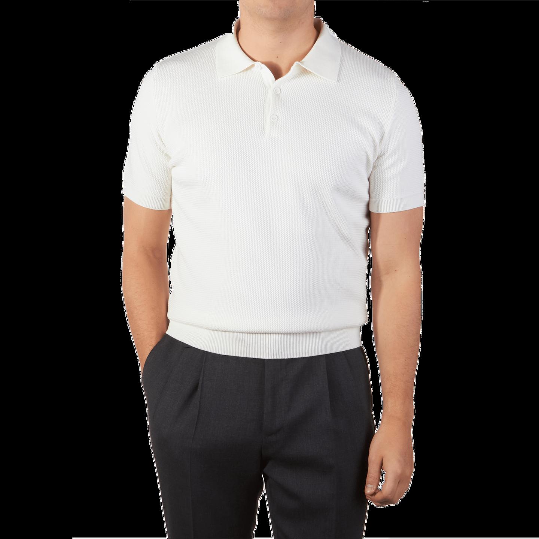 86b12f54 Sunspel - Off White Short Sleeve Rack Stitch Polo Shirt | Baltzar
