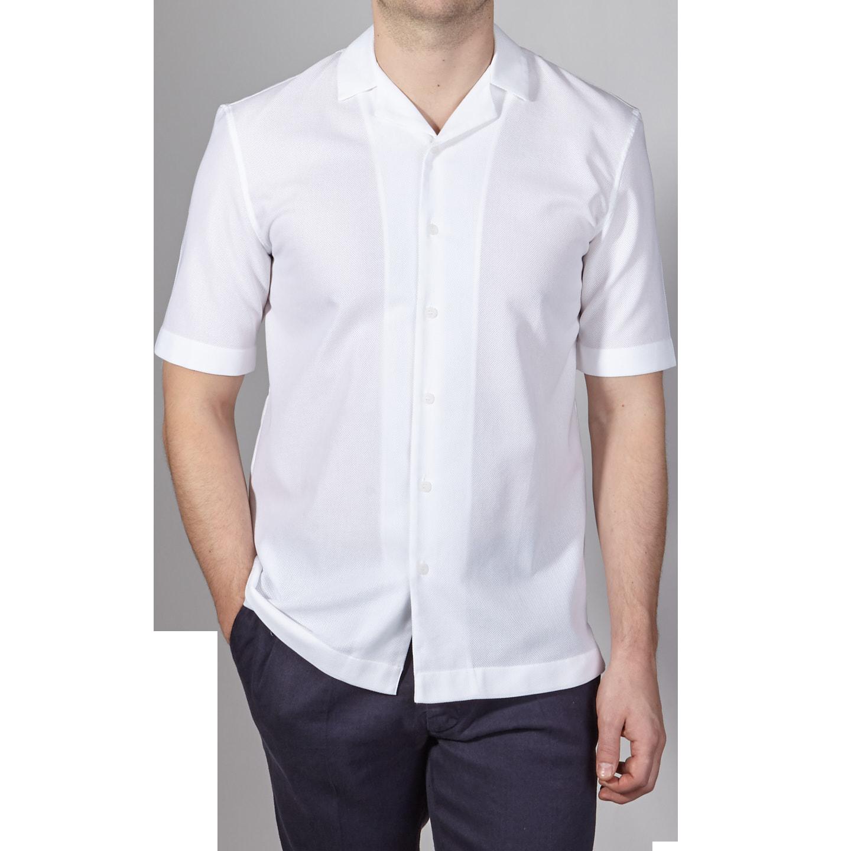 6e14448f Sunspel - White Short Sleeve Camp Collar Shirt | Baltzar
