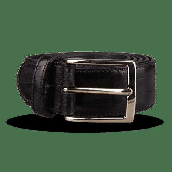 Canali Black Crocodile Belt Feature