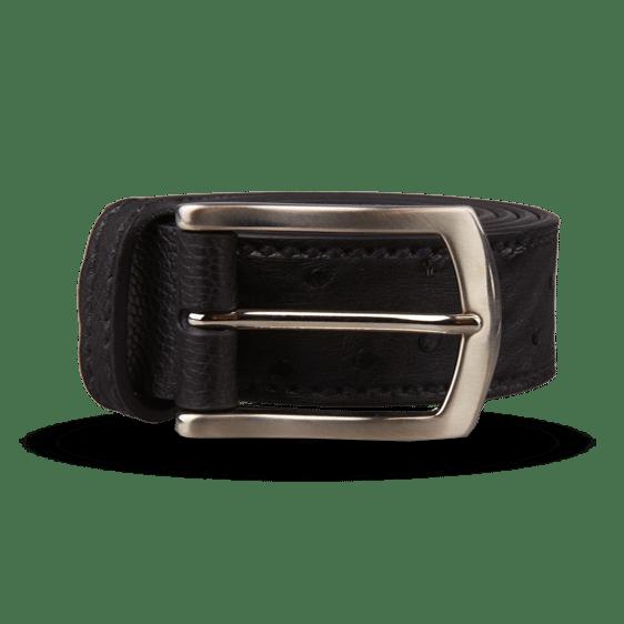 Canali Black Ostrich Belt Feature