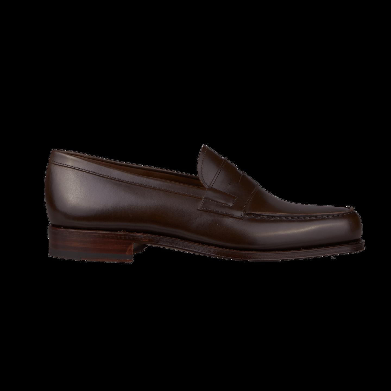 Carmina Dark Brown Calf Genova Penny Loafers Side