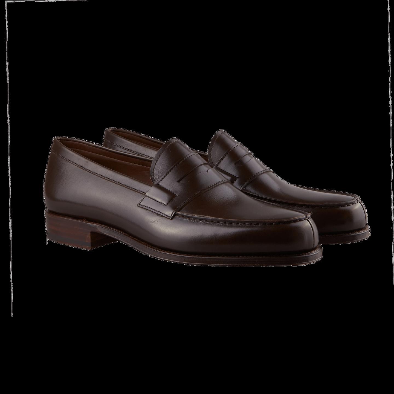 902cfce1f71 Carmina Dark Brown Calf Genova Penny Loafers Front