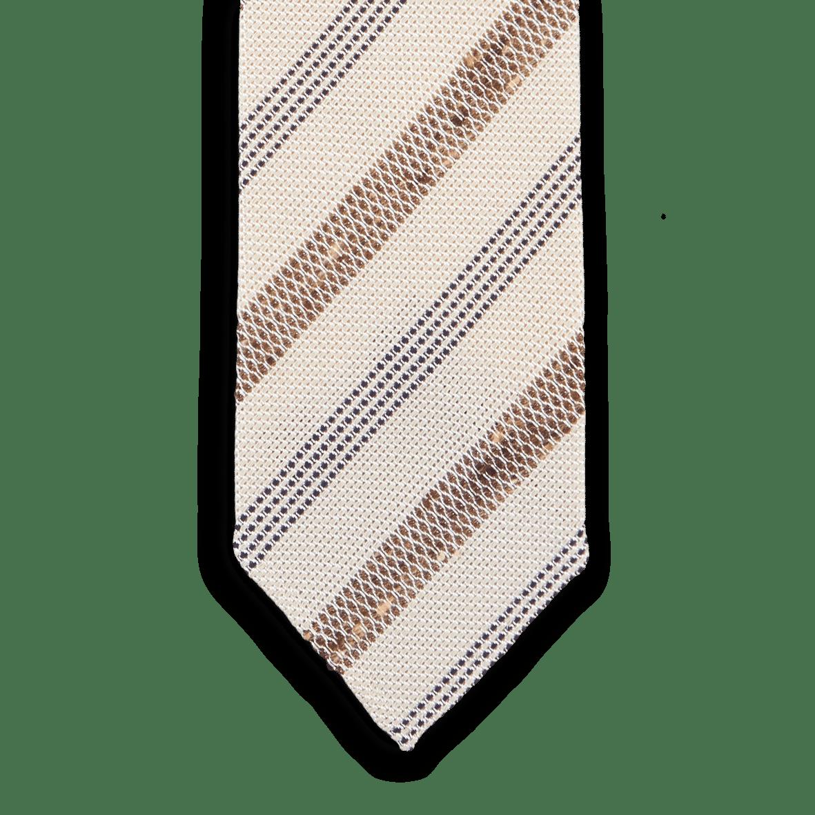 2aa96d4c0c6a Drake's - Beige Striped Fine Knot Grenadine Tie | Baltzar
