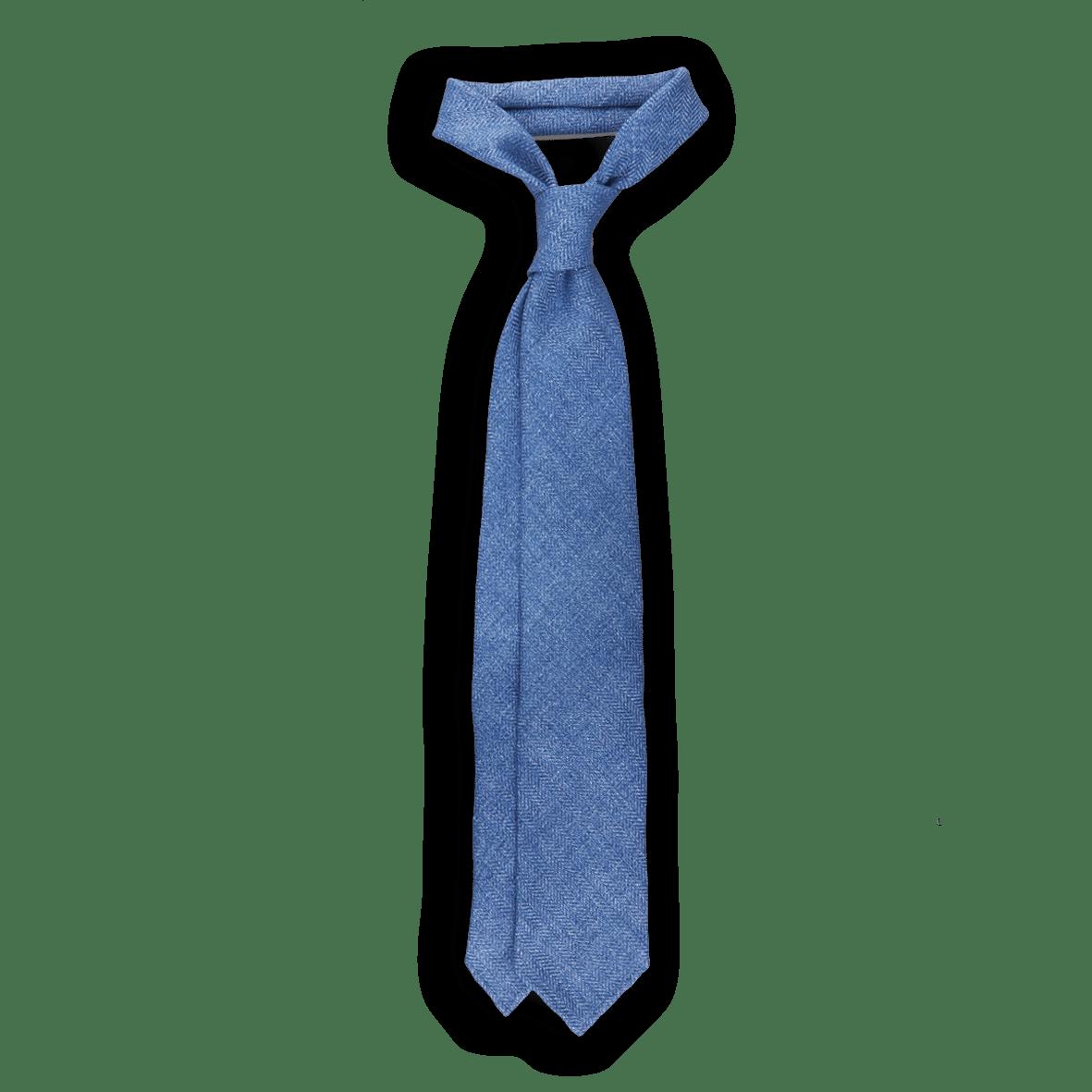 Drakes Blue Chevron Woven Linen Tie Feature