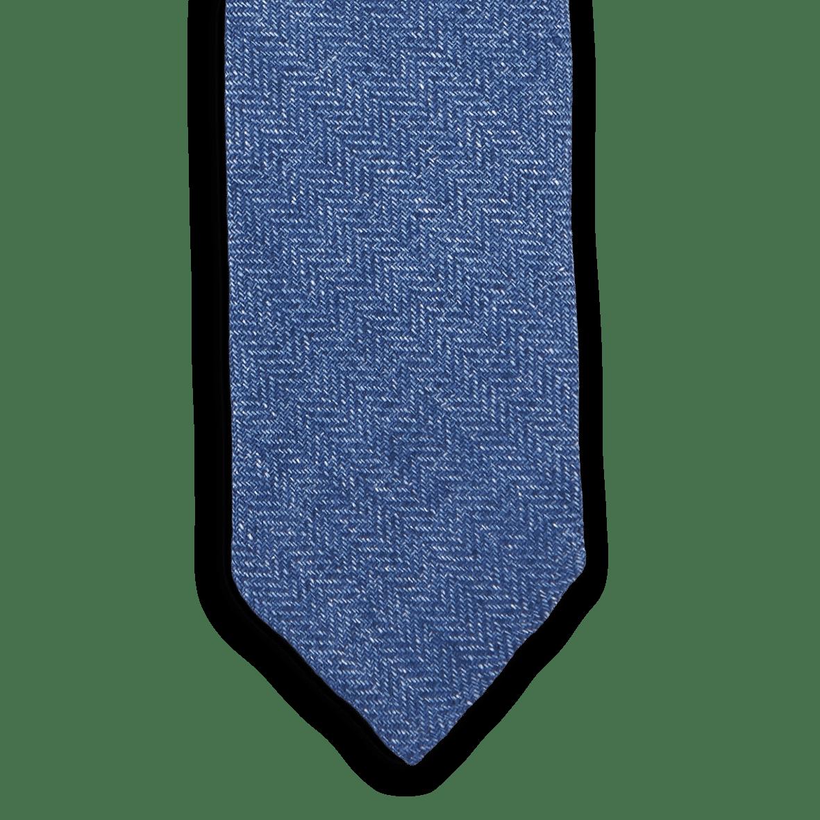Drakes Blue Chevron Woven Linen Tie Front