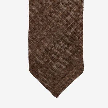 Drake's Brown Handrolled Silk Tussah Tie Tip