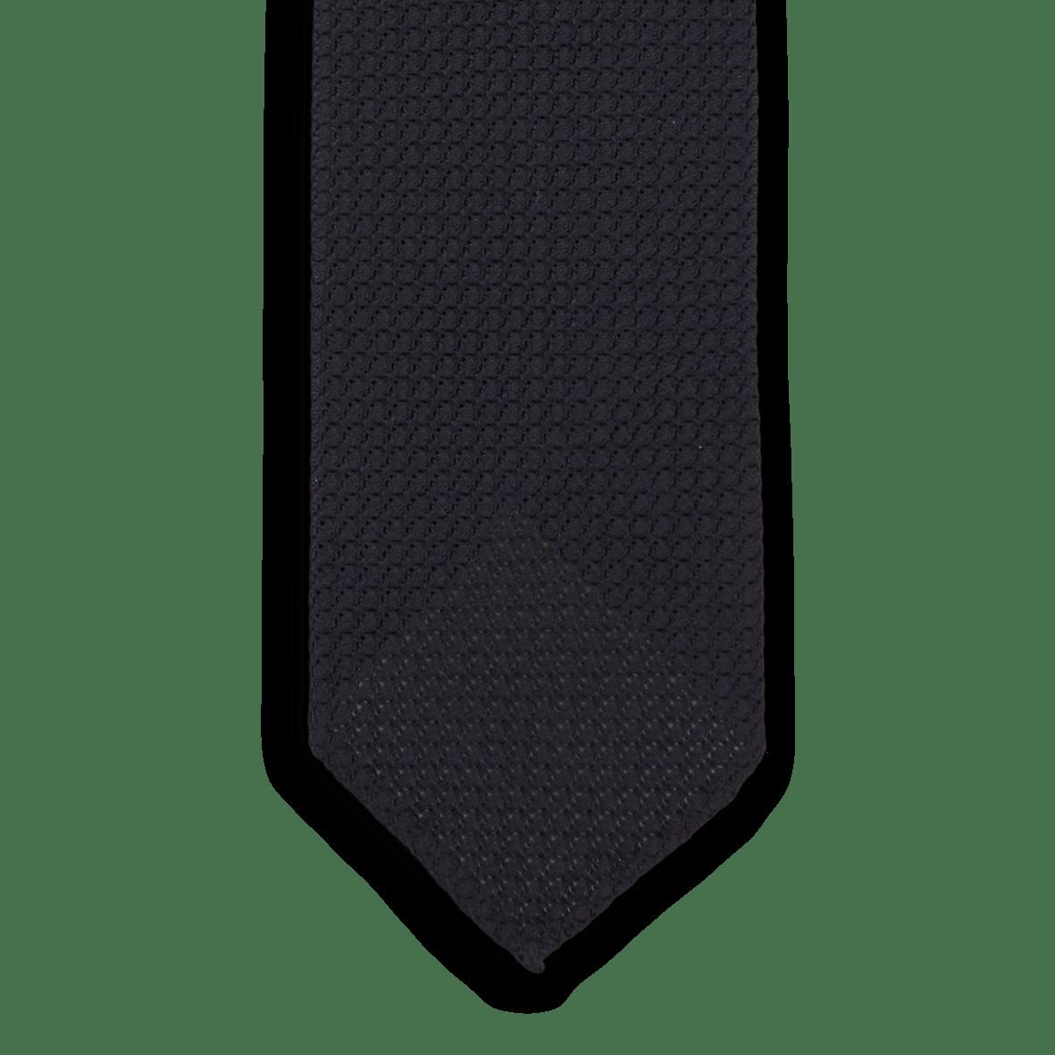 Drakes Dark Navy Handrolled Large Knot Grenadine Tie Front