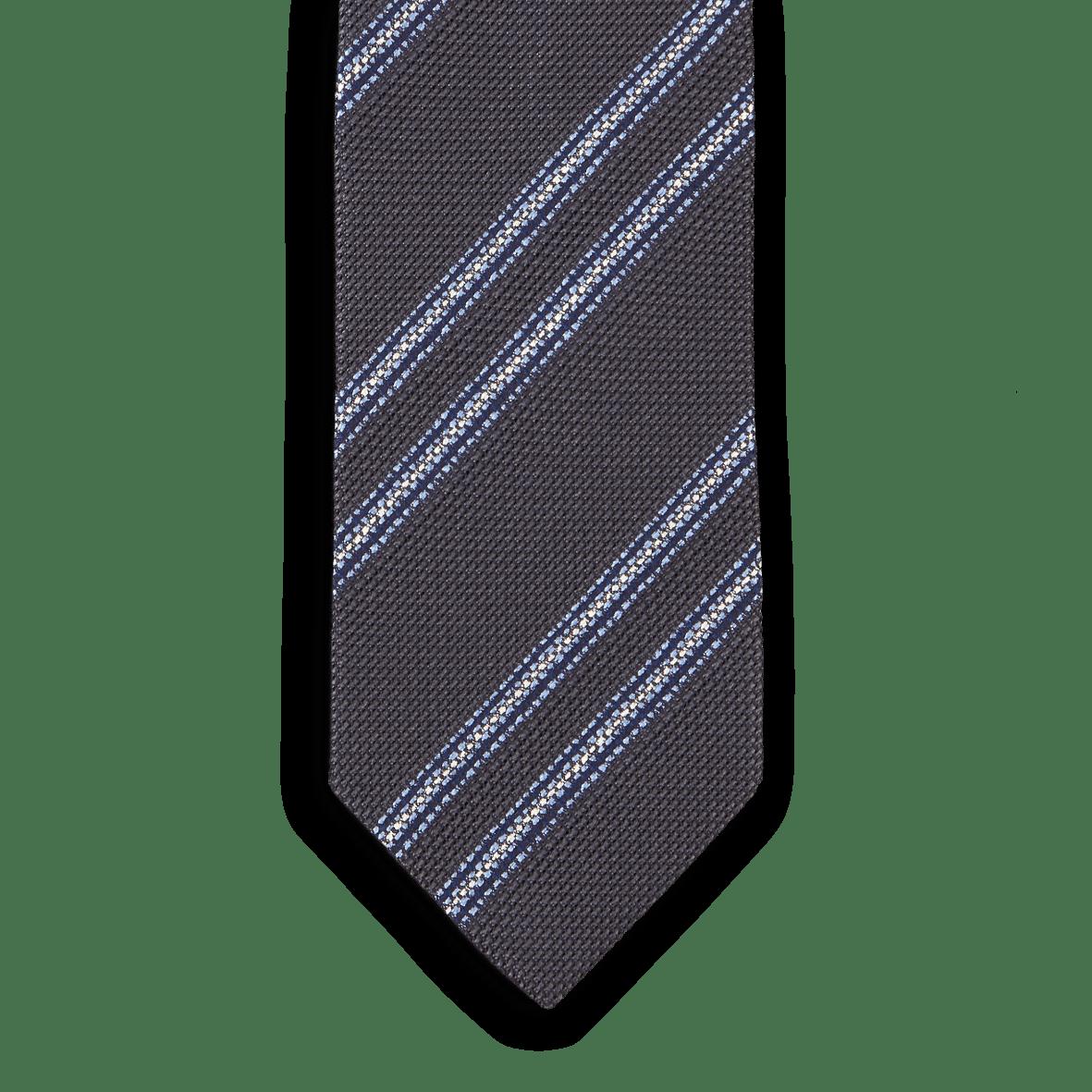 d45d7f90181a Drake's - Grey Striped Fine Knot Grenadine Tie | Baltzar