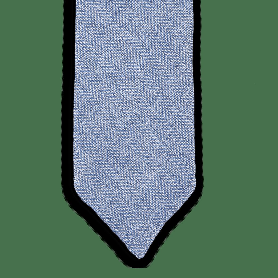 Drakes Light Blue Chevron Woven Linen Tie Front