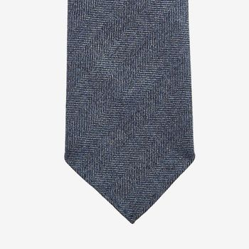 Dreaming of Monday Blue Herringbone 7-Fold Vintage Wool Tie Tip