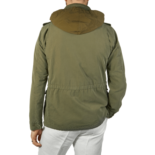 Herno Green Washed Cotton Bogart Field Jacket Back