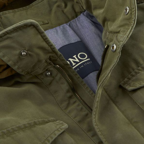 Herno Green Washed Cotton Bogart Field Jacket Collar