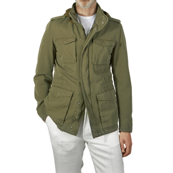 Herno Green Washed Cotton Bogart Field Jacket Front