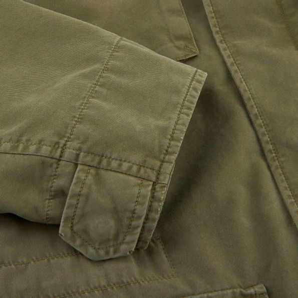 Herno Green Washed Cotton Bogart Field Jacket Sleeve