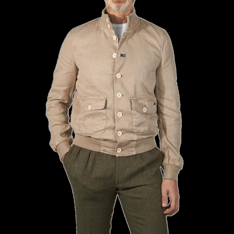 Masons Beige Linen Bomber Jacket Front