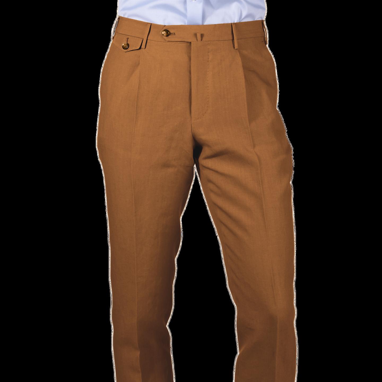 PT01 Brown Pure Linen Single Pleat Trouser Front