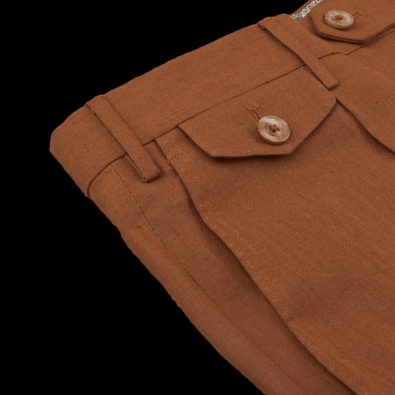 PT01 Brown Pure Linen Single Pleat Trouser Pocket