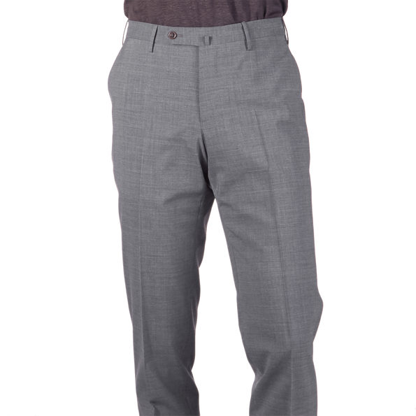 PT01 Medium Grey Wool-Stretch Trouser Front