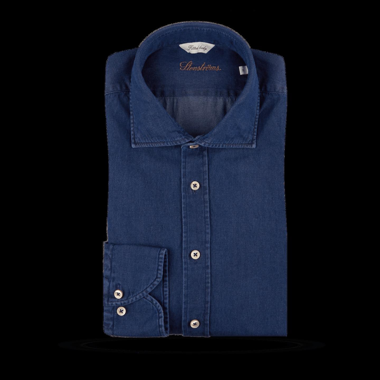Stenströms Blue Denim Cut-Away Fitted Body Shirt Feature