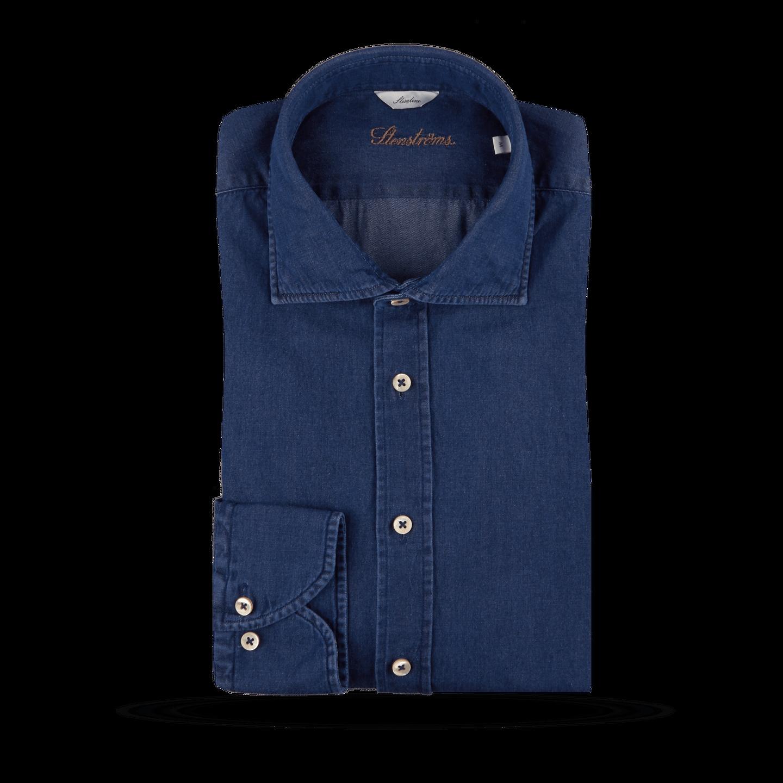 Stenströms Blue Denim Cut-Away Slimline Shirt Feature