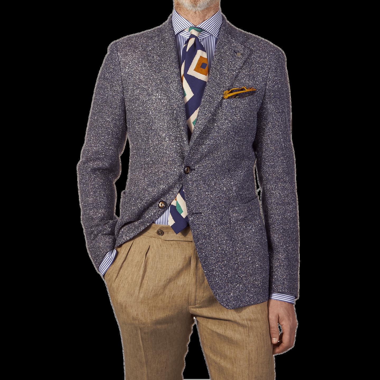 Tagliatore Blue Patterned Linen Cotton Blazer Front