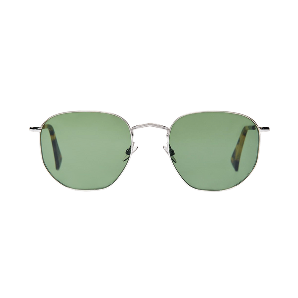 The Bespoke Dudes Mohair Rhodium with Bottle Green Lenses Front
