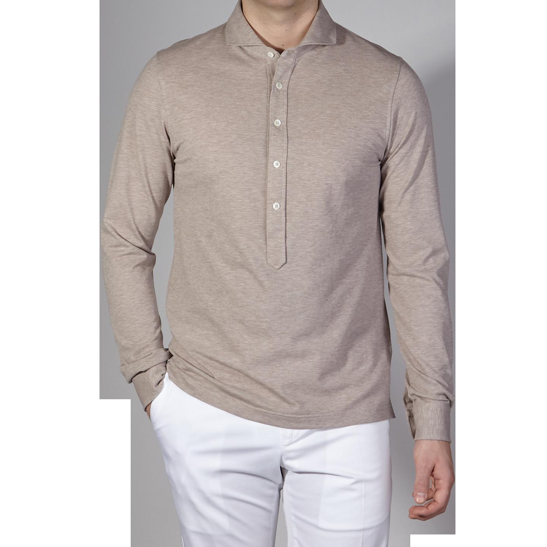f840dfb258be7 Gran Sasso - Beige Long Sleeve Cotton Jersey Popover Shirt | Baltzar