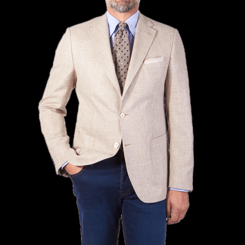 Morris Heritage Beige Structured Cotton Blazer Front