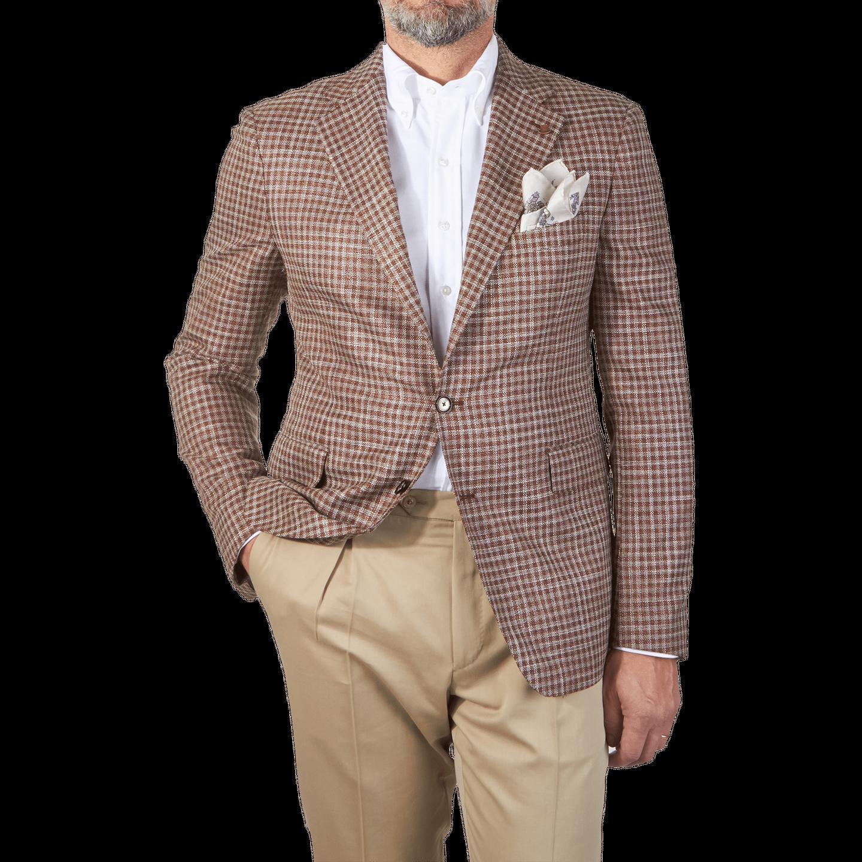 Tagliatore Brown Checked Wool Silk Blazer Front