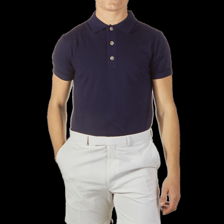 1906 Baltzar Navy Short Sleeve Polo Front