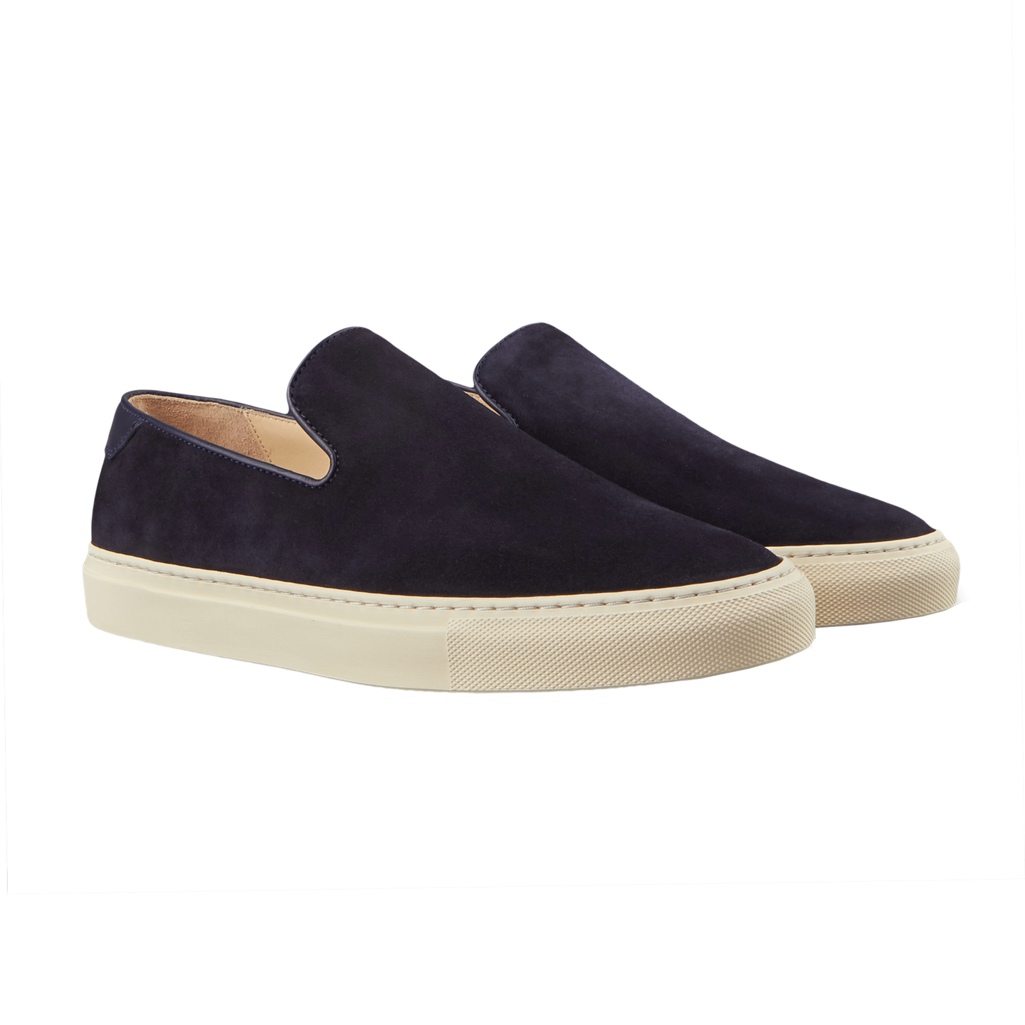 CQP Navy Suede Jetty Wholecut Slip-on Front