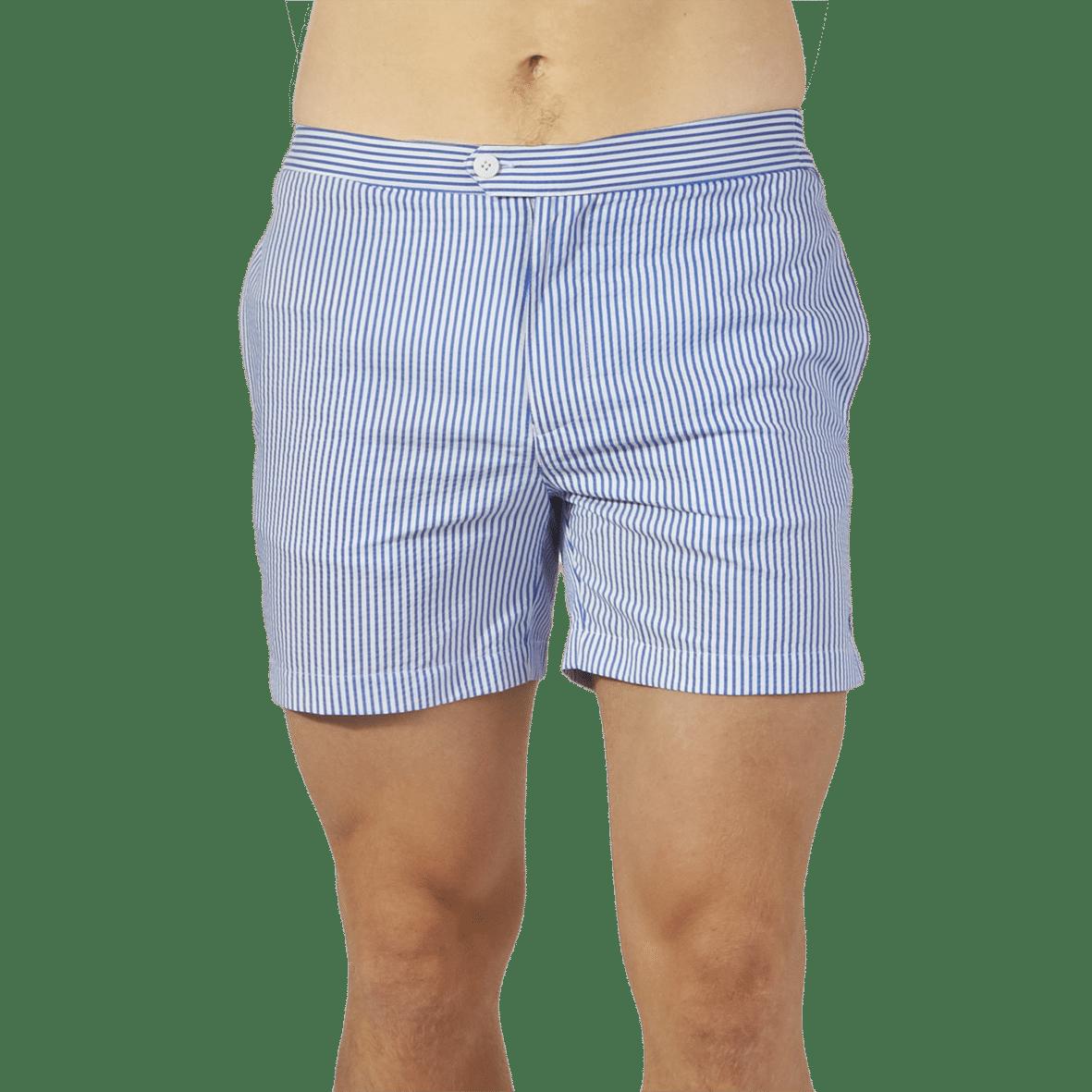 Coast Society Navy Seersucker Cotton Blend Swimshorts Front