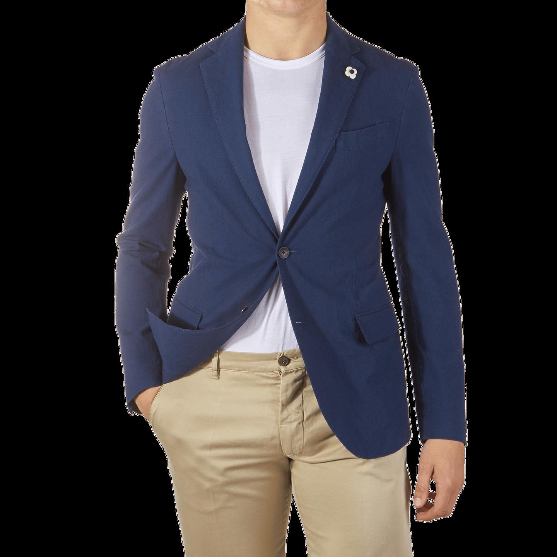 Lardini Blue Washed Cotton Stretch Blazer Front