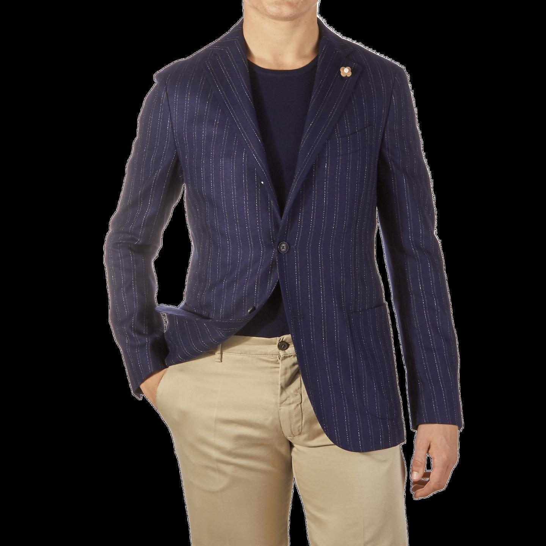 Lardini Navy Striped Silk Blazer Front
