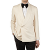 Lardini Off-White Raw Silk Double Breasted Shawl Collar Dinner Jacket Front