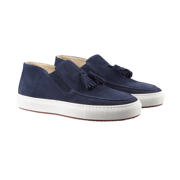 Luciano Barbera Blue Suede Tassel Sport Loafer Front