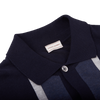 Luciano Barbera Navy and Blue Striped Knitted Polo Cardigan Collar