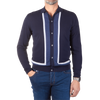 Luciano Barbera Navy and Blue Striped Knitted Polo Cardigan Front