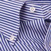 Mazzarelli Navy and White Bengal Striped Shirt Collar