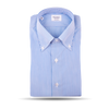 Mazzarelli Royal Blue and White Bengal Striped Shirt Feature