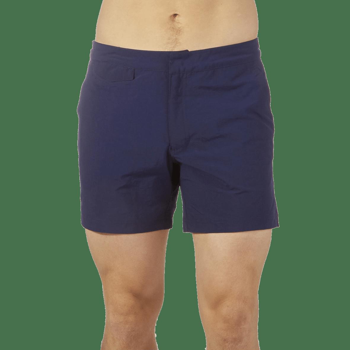 Sunspel Navy Swim Shorts Front