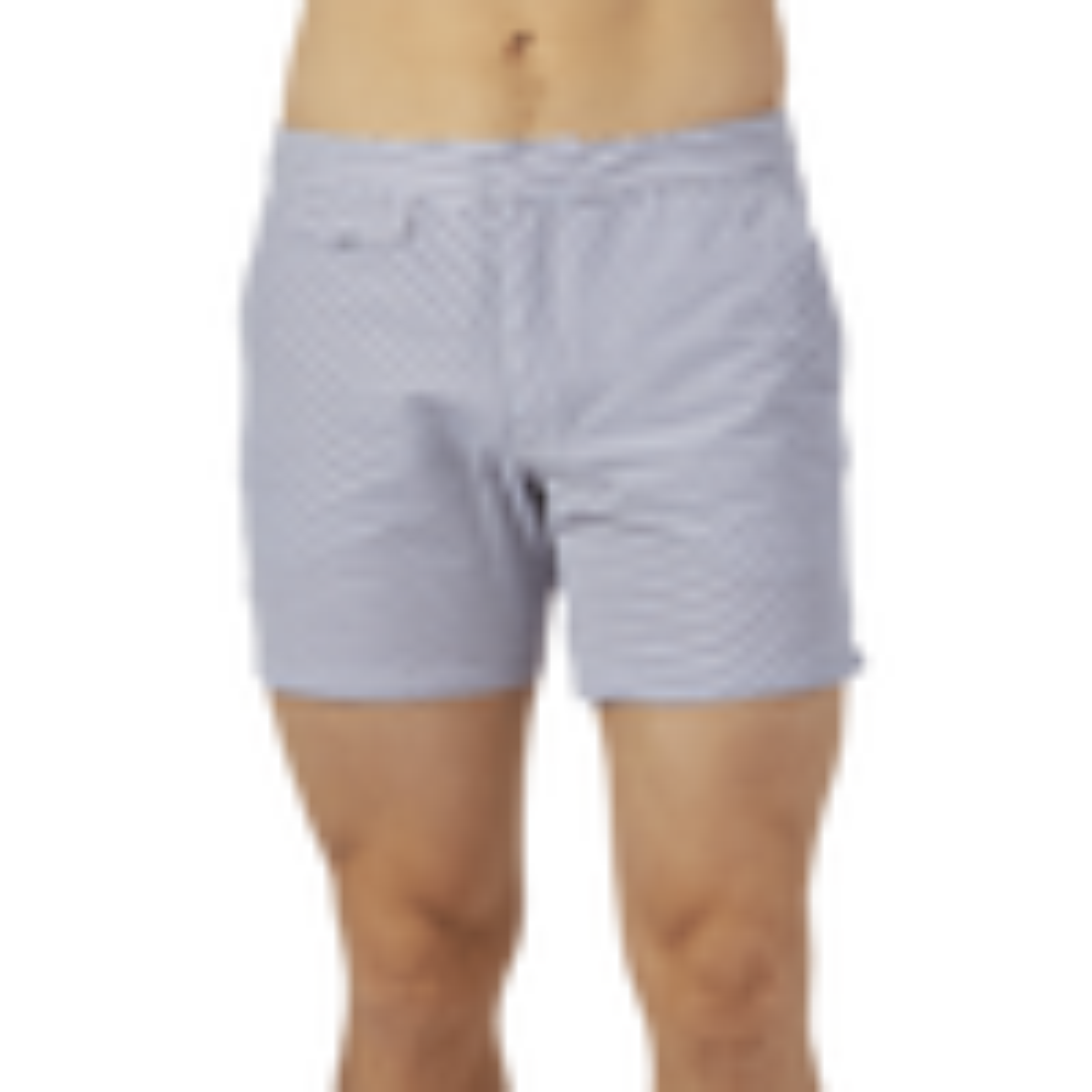 Sunspel White Grey Striped Swim Shorts Front