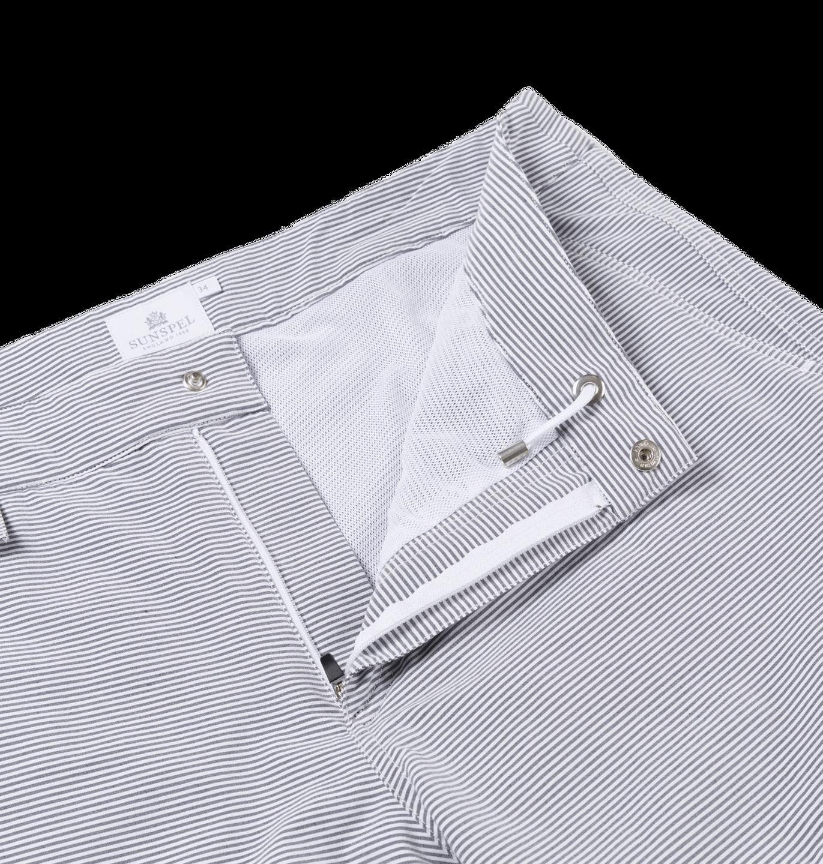 Sunspel White Grey Striped Swim Shorts Open