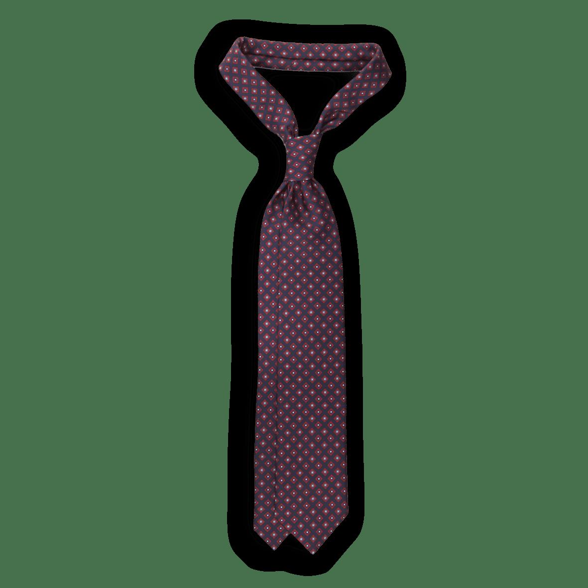 E.Marinella Navy Geometric Printed Silk Tie Feature