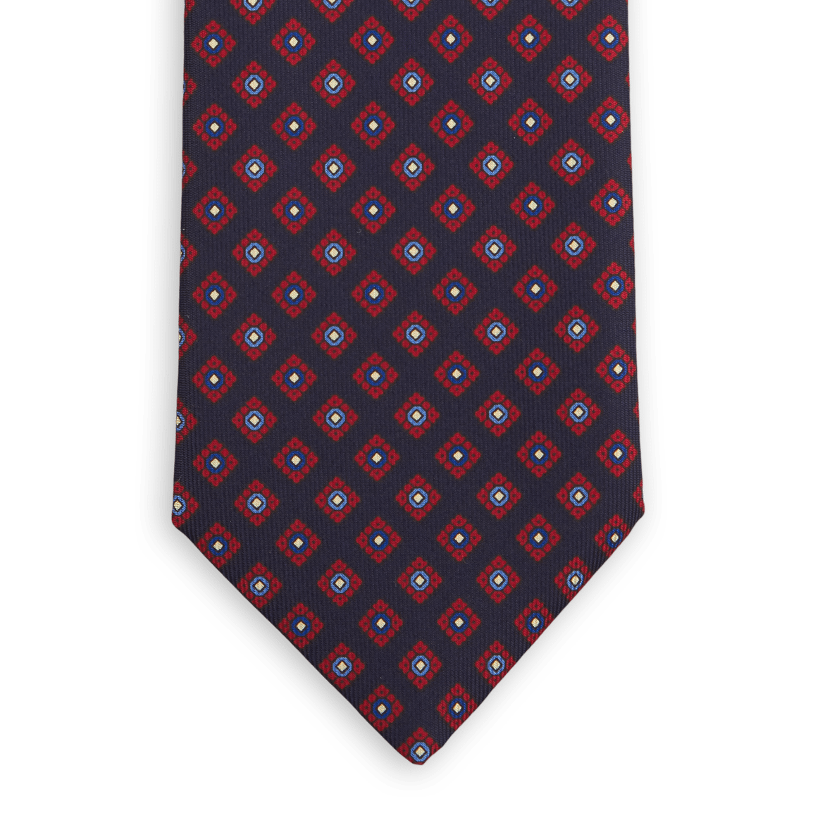 E.Marinella Navy Geometric Printed Silk Tie Front